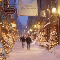 Snowy night in Old Town, Quebec City